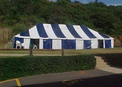 Blue and White Peg and Pole Tent